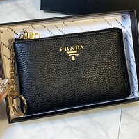 Prada Fashion New Leather Wallet Purse Handbag Black