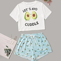 Letter Graphic Top With Allover Avocado Shorts Pajama Set Two-Piece
