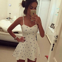 dress 2015 vestidos women dress latest trade explosion models sexy sling Polka Dot Dress vestido de festa = 1753492740