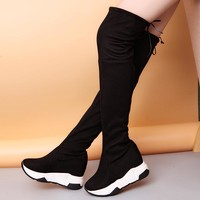 Lucyever Women Winter Thigh High Boots Over The Knee Female Flcok Shoes Lace Up High Heels Platform Black Long Bota Feminina