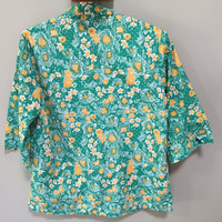 Green Floral Blouse, Vintage Blouse, Kelly Green Yellow Flowers Cropped Sleeve Blouse, Spring Blouse, 3/4 Sleeve Blouse, American Sweetheart