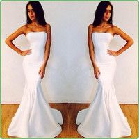 Vestidos Cheap Mermaid Evening Dresses Sexy Strapless Backless White Prom Dress Plus Size Formal Dress Celebrity Gowns Cheap