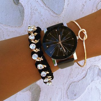 Suede Knot Bracelet & Watch Stack
