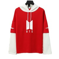 KPOP BTS Bangtan Boys Army  Hoodie  Hooded Sweatshirt Cotton Women Autumn Casual Patchwork Hip Hop Hoodies Fashion Preppy Style Harajuku Tops AT_89_10