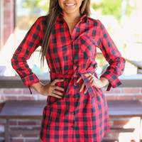 Espresso Morning Buffalo Check Dress - Red