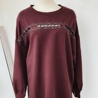 SPLIT IT UP OVERSIZE SWEATER- BURGUNDY