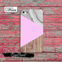 Wood and Marble Print Pastel Pink Triangle Modern Geo iPhone 4 Case and iPhone 5/5s/5c Case and iPhone 6, 6 Plus, 6s, 6s Plus + Wallet Case