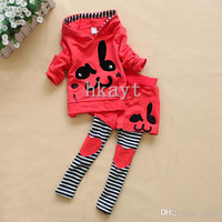 Children's Sets/Baby Sets/ Girls Spring and Autumn cotton love child bunny 2 pc set/Children's clothing