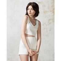 Hearts and Bows White Cher Scub Crop Top