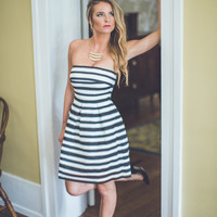 WEB EXCLUSIVE: Striped Fit and Flare Cocktail Dress