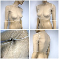 Sparkling Nude Beige Mesh Silver Glitter Crop Top Half Sleeve Cover Up