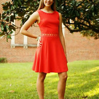 Orange Dress With Cutout Floral Insets at Waist