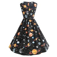 Women Vintage Printing Starry Sky Planet Space Dress Fit and Flare sexy dress Print  Fashion Vestido@30