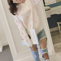 Round Neck Casual Pattern Print Knit  Long Sleeve Loose blouse top