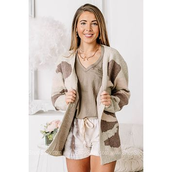 Going As Planned Camo Soft Knit Cardigan