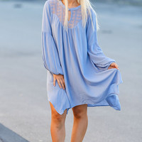 Escaping the Wind BabyDoll Tunic Dress (Mystic Blue)