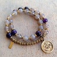 Grey and Purple Agate 27 Bead Mala Wrap Bracelet with Om Charm