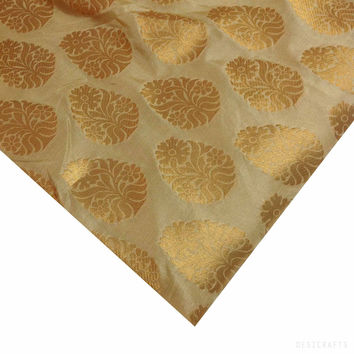 Beige and Gold Banarasi Silk
