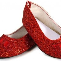 Red Glitter Ballet Flats Shoes Fits 18 Inch American Girl Dolls