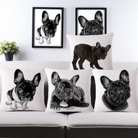 2015 Car covers cushion 3d European French Bulldog sofa cushions cotton decorative pillows throw pillow cases home textile
