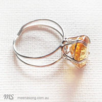 LARGE SOLITARE RING OVAL - CITRINE by Meena Song Jewellery