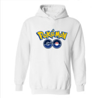 Pokemon Go series of velvet hooded sports sweater White blue go