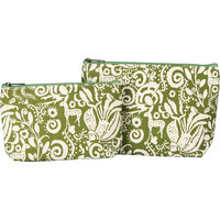 Two Matching Cosmetic Bags-Olive Green Woodland