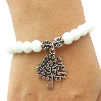 Tree of Life Handmade White Bead Bracelet Jewelry beaded bracelet gemstone bracelet boho stacking bracelet set stretch bracelet nature