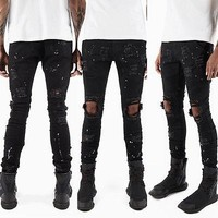 CANIS Men Jeans Stretch Destroyed Ripped Design white dot  Fashion Ankle Zipper Skinny Jeans ripped jeans for men