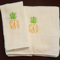 Hand and Bath Towel Pineapple Monogram Set