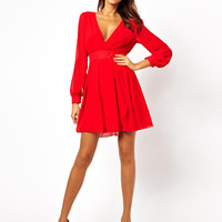 V-Neck Long Sleeve Chiffon Mini Dress