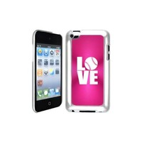 Apple iPod Touch 4 4G 4th Generation Hot Pink B1327 hard back case cover Love Baseball Softball