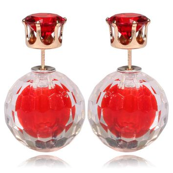 Gum Tee Mise en Style Tribal Double Bead Earrings - Matching Hidden Gem Red