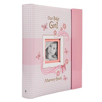Christian Art Gifts Girl Baby Book of Memories Pink Keepsake Photo Album | Our Baby Girl Memory Book | Baby Book with Bible Verses, The First Year