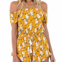 Yellow Floral Print Romper