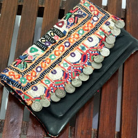 Vintage Tribal Banjara Clutch , Gypsy Banjara Purse ,Handmade Gorgeous Banjara Fabric With Leather Clutch Bag