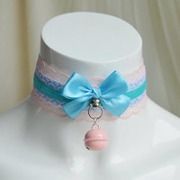 Premade Kitten play collar - Girlyblue - daddy kink ddlg cgl princess fairy kei kawaii cute neko lolita pet pastel choker neko costume