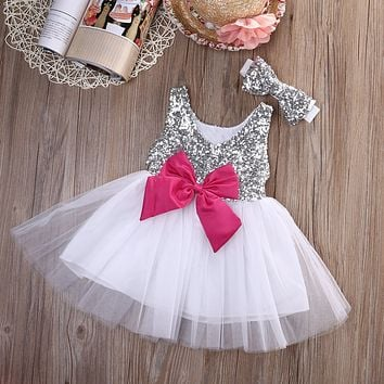Baby Kids Girls Princess Dress Sequined Wedding Gown Party Pageant Princess Dresses Tutu Tulle Dresses Headwear Outfits