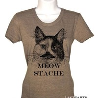 Meow Stache Cat T-Shirt Crazy Cat Lady Cat Shirt Cat Lover Gift Mens Tshirt Womens Graphic Tees Kids Tshirt Cat Tshirt Novelty Gift For Him