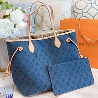 LV New fashion monogram print leather shoulder bag handbag two piece suit Blue