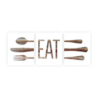 Eat Art Print, Kitchen Wall Art, Kitchen Decor, Eat Sign, Eat Kitchen Art, Brown Wood 'Look' Fork Spoon Knife Art, Set of Three, Kitchen Art
