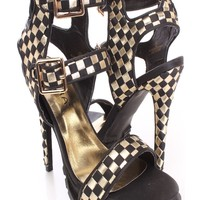 Black Gold Checker Print Strappy Heels Faux Leather