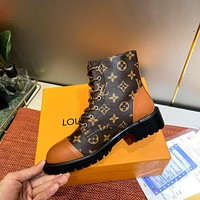 LV Louis Vuitton New product full printed letters ladies casual Martin boots Brown
