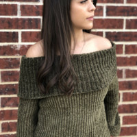 Chenille Off Shoulder Top - Olive