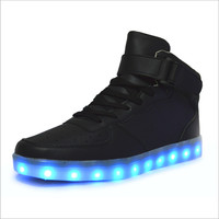 High quality 7 Colors LED Luminous Women&Men high top casual shoes LED Shoes For Adults USB Charging Lights Shoes Black White