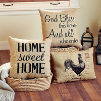 Vintage Burlap Decorative Pillows