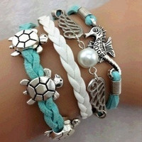 Fashion Seahorse & Wings & Pearl and Turtles Tortoise Charm Bracelet in Silver = 1652347908