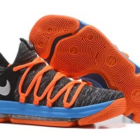 Nike Mens Kevin Durant KD 10 Black/Orange/Blue Basketball Shoes