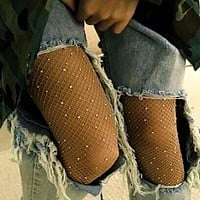 Women High Waist Diamond Fishnet Tights with Crystal Rhinestone Mesh Pantyhose Lady Net Glitter Stockings Sparkle Rave