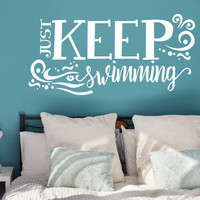 Keep Swimming Design wall decal - Inspirational quotes, Kids Bedroom Wall Decor, Vinyl wall sticker, Ocean Designs, Movie Quotes, Wall Decor
